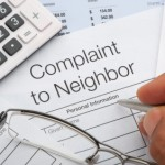 Close up of a complaint to neighbour